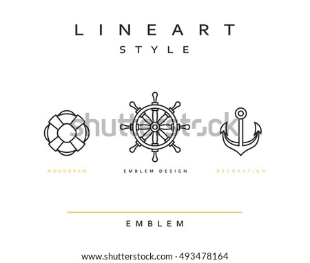 Marine anchor in linear style. Emblem nautical theme for the restaurant. The anchor, the ships wheel, life buoy, vector illustration of design element