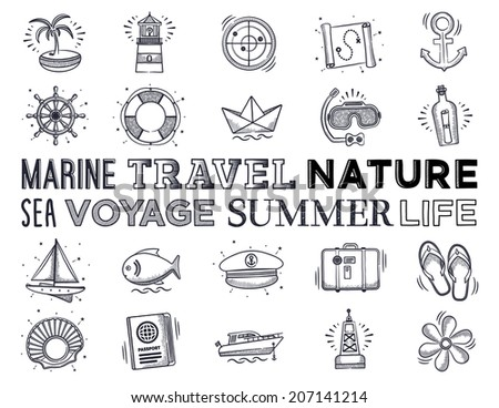 Marine and vacation icon set. Vector doodle illustrations.