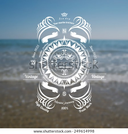 marine background with compass label on blue sky sea shore blur photo - stock vector