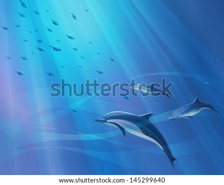Marine background with dolphins and a bunch of fish, vector illustration