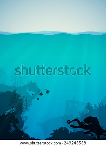 Marine background with the underwater world. At the bottom of coral reefs, sunken boat and various marine animals and fish - stock vector