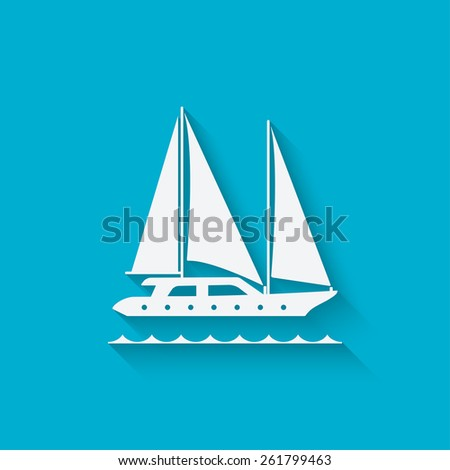 marine background with yacht - vector illustration. eps 10