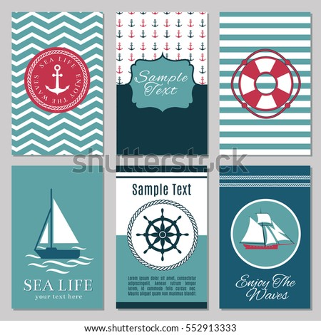 Marine banners summer nautical invitation cards stock vector marine banners or summer nautical invitation cards design vector marine template card for invitation illustration stopboris Images