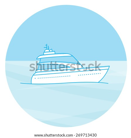 Marine boat cruise sea travel yacht motor vessel flat icon with jet cutter abstract vector illustration - stock vector