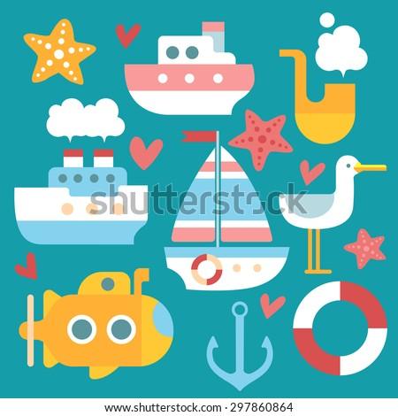 Marine boats set. Ships on a green background. Steamship, sailboat, yellow submarine, anchor, life buoy, Seagull, starfish, sea. - stock vector
