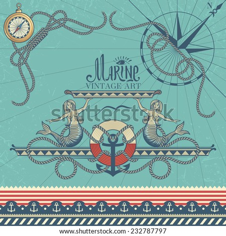 Marine Decorative Elements on Vintage Background: Corners, Sign, and Border