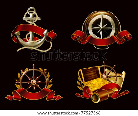 Marine Emblem set on black, 10eps - stock vector