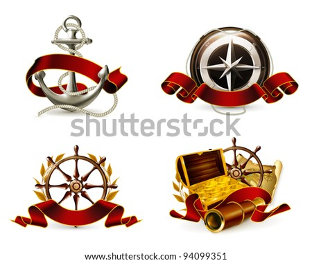 Marine Emblem set, vector - stock vector