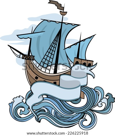 Marine emblem, ship going over the waves, color illustration