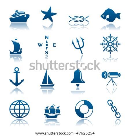 Marine icon set - stock vector