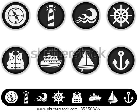 marine icons - a series of white buttons and simple icon versions of them - stock vector