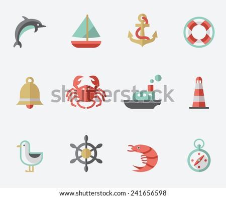 Marine icons, flat design - stock vector