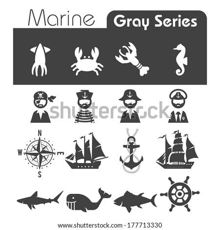 Marine Icons Gray series - stock vector