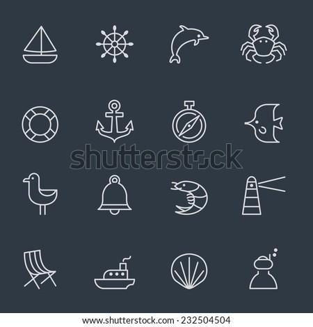 marine icons, thin line design, dark background - stock vector