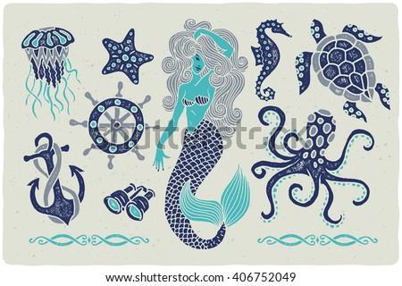 Line Drawing Jellyfish : Marine illustrations set mermaid drawing octopus stock vector hd