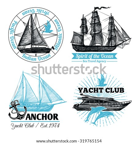 Marine labels set with hand drawn sail ships and cruise yacht isolated vector illustration - stock vector