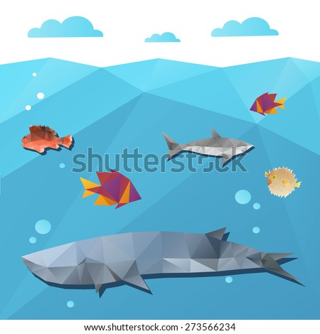 Marine life abstract triangle shape, vector illustration - stock vector