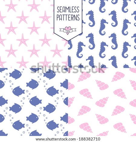 Marine life Background Collection - vector seamless patterns - stock vector