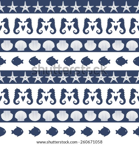 Marine life Background. Navy vector seamless patterns set: anchor, sailboat, heart. Cute nautical background. Baby shower vector illustration. - stock vector
