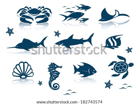 Marine life icon set - stock vector