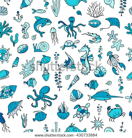 Marine life, seamless pattern for your design