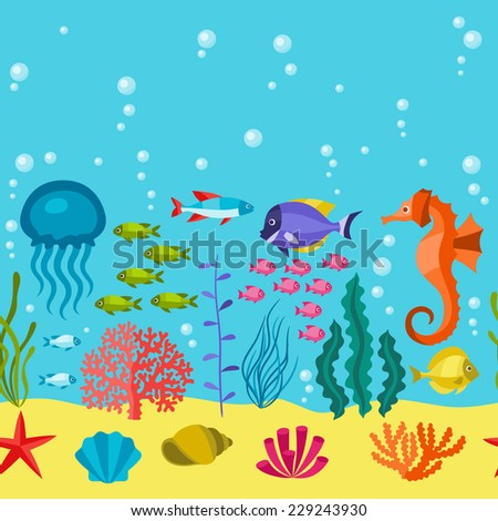 Marine life seamless pattern with sea animals. - stock vector