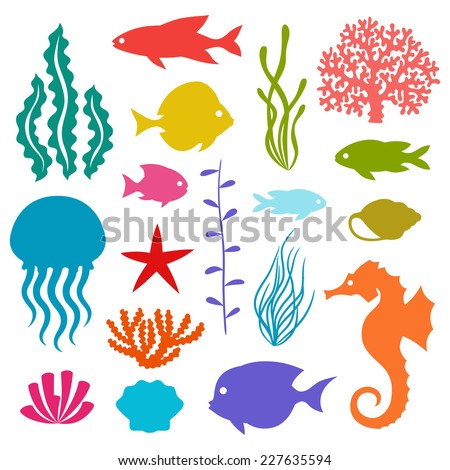 Marine life set of icons, objects and sea animals. - stock vector