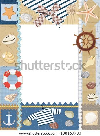 Marine photo frame. Vector illustration - stock vector