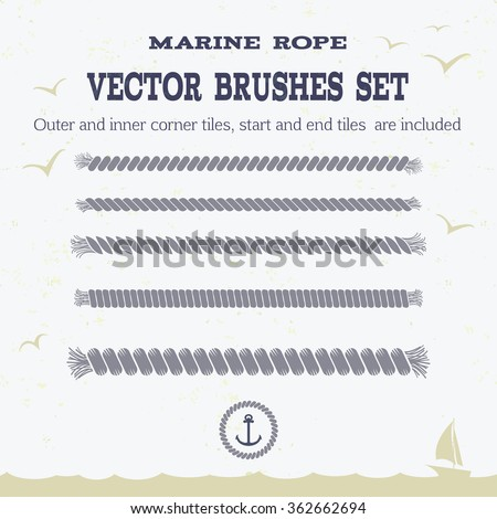 Marine rope style vector pattern brushes set with outer and inner corner tiles, end and start tiles, are  located in the Brush panel of this EPS file