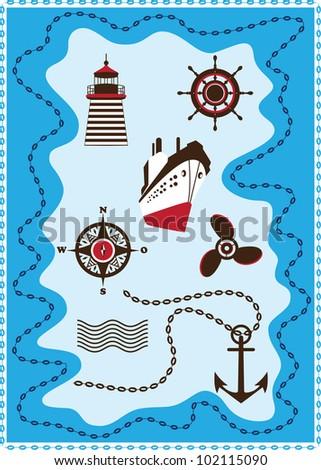 Marine, Sailing and Sea Icons, Vector Icon Set - stock vector