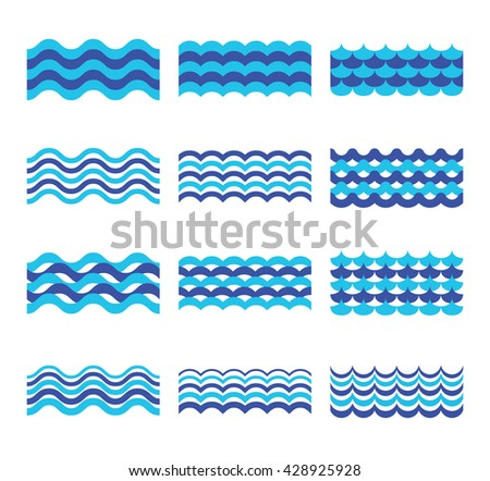 Marine, sea, ocean waves vector set. Sea water wave element, design wave ocean for web design illustration - stock vector