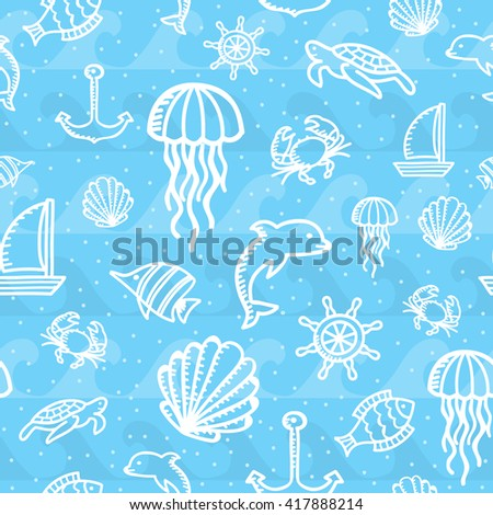 Marine seamless background. Vector illustration.
