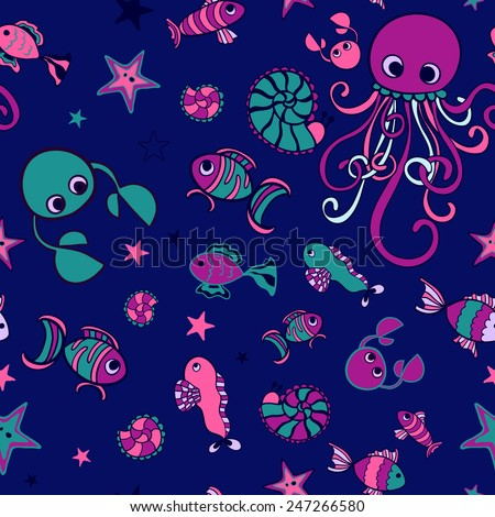 marine seamless pattern - stock vector