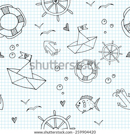 Marine seamless pattern. Doodle sea travel elements in funny cartoon background in vector - stock vector