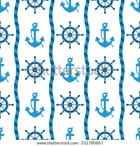 marine seamless pattern of sea anchors and helm -vector illustration