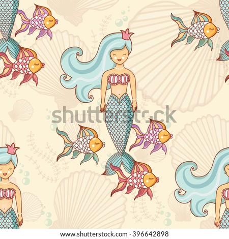 Marine seamless pattern with fish and mermaids