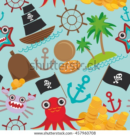 Marine seamless pirate pattern on light blue background. pirate boat with sail, gold coins crab octopus starfish island with palm trees anchor compass anchor helm treasures. Vector