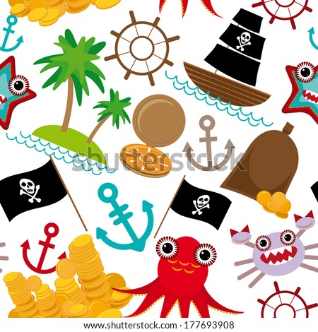 Marine seamless pirate pattern on white background. Vector