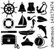 Marine set - stock vector