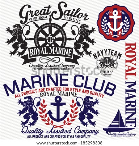marine set - stock vector
