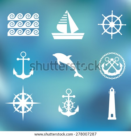 Marine set symbols on a bright background