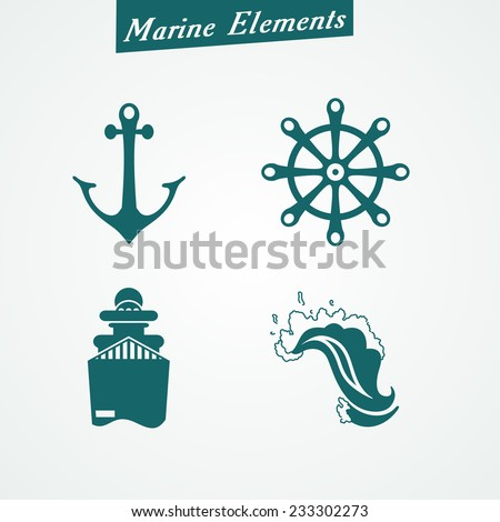 Marine symbols: anchor, ship, wave, steering