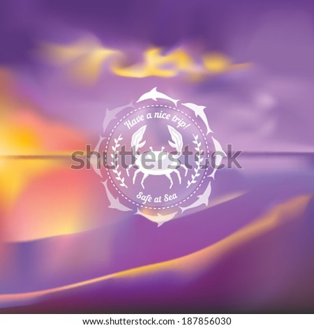 Marine theme icon over a blurred seascape background vector illustration - stock vector