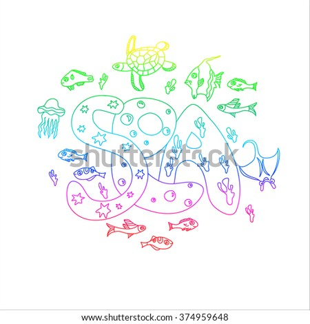 Marine theme texture doodle pictures sea, fish, animal, color isolation circle colorful