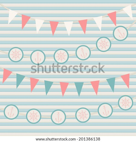 Marine theme vector background - stock vector