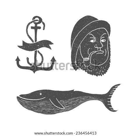 marine themes tattoo sailor ocean whale stock vector royalty free