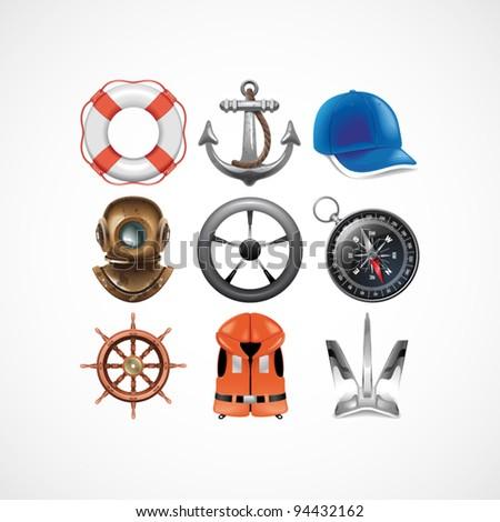 Marine travel icons. Vector illustration - stock vector
