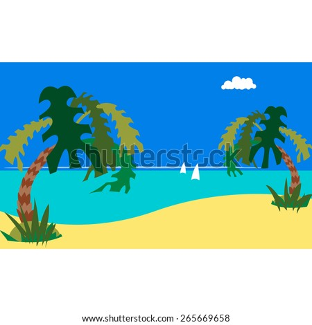 Marine tropical beach. Background. Caricature. Flat. - stock vector