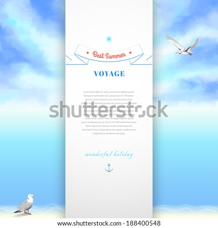 Marine vector card. Sky painted oil pastel. Gulls, pencil hand drawing. Decorative elements, tape, anchor, sun. Place for your text. - stock vector