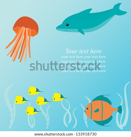 Marine vector card with sea creatures and place for text - stock vector